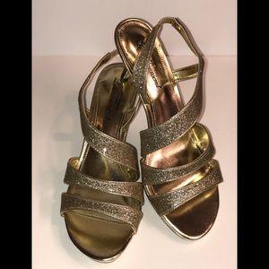 • NEW • Gold Glittler Heels